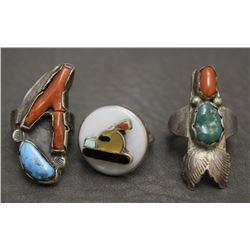 THREE NAVAJO INDIAN RINGS