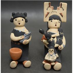 TWO JEMEZ INDIAN POTTERY STORY TELLERS
