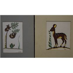 TWO TESUQUE INDIAN PAINTINGS (VIGIL)