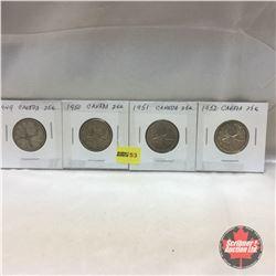 Canada Twenty Five Cent - Strip of 4: 1949; 1950; 1951; 1952