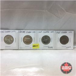 Canada Twenty Five Cent - Strip of 4: 1966; 1867-1967; 1968 (silver); 1968 (nickel)