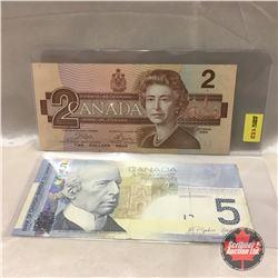 Canada Bills (2): 1986 $2  #ARV5740980 AND 2006 $5 (Radar Note) #APH6652566
