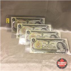 Canada $1 Bill 1973 (4) Sequential : #BAK3691867-868-869-870