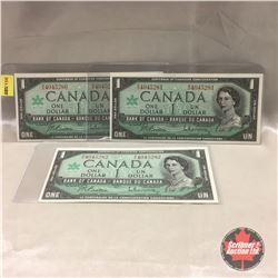 Canada $1 Bill 1967 (3) Sequential : #MO4045280-281-282