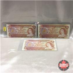 Canada $2 Bill 1974 (3) : #ARC3432304; #AGS3146673; #ARC3443037