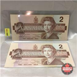 Canada $2 Bill 1986 (2) Sequential : #EBG1249757-758