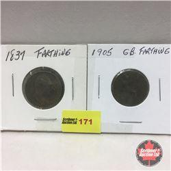 Great Britain Farthing - Strip of 2: 1837; 1905
