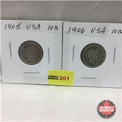 US Ten Cent - Strip of 2: 1905; 1906