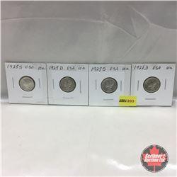 US Ten Cent - Strip of 4: 1925S; 1927D; 1927S; 1928D