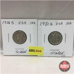 US Ten Cent - Strip of 2: 1926S; 1931S
