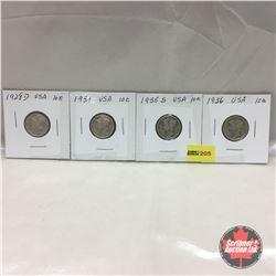 US Ten Cent - Strip of 4: 1928D; 1931; 1935S; 1936
