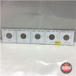 US Ten Cent - Strip of 5: 1954; 1956D; 1957; 1958D; 1959D