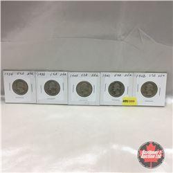 US Twenty Five Cent - Strip of 5: 1934; 1936; 1940; 1941; 1942