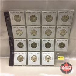 US Twenty Five Cent - Sheet of 15: 1943S; 1945S; 1950; 1951S; 1952D; 1953S; 1954D; 1956; 1957D; 1958