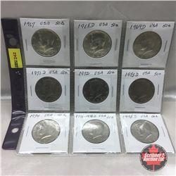 US Fifty Cent - Sheet of 9: 1967; 1968D; 1969D; 1971D; 1972; 1973D; 1974; 1776-1976D; 1978D