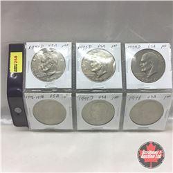 US Liberty Dollar - Sheet of 6: 1971D; 1972D; 1974D; 1776-1976; 1977D; 1978