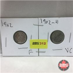 Canada Five Cent - Strip of 2: 1902; 1902H