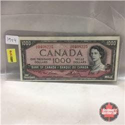 Canada $1000 Bill 1954 #AK0408225