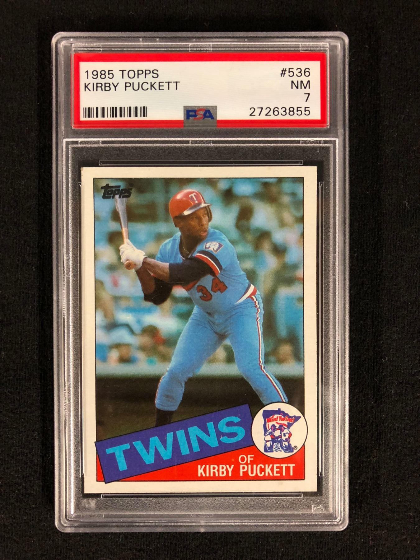 1985 Topps 536 Kirby Puckett Rookie Card Nm 7 Psa Graded