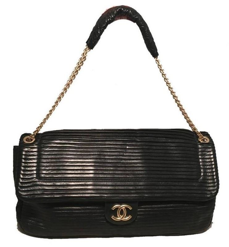 cff57928ef88 Image 1   Chanel Black Pleated Leather Classic Flap Shoulder Bag ...
