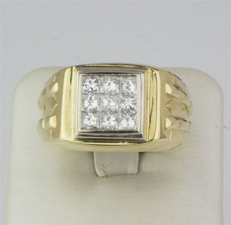 Fine Rings Diamond 14k Yellow Gold Invisible Set Princess Cut Ring Low Price