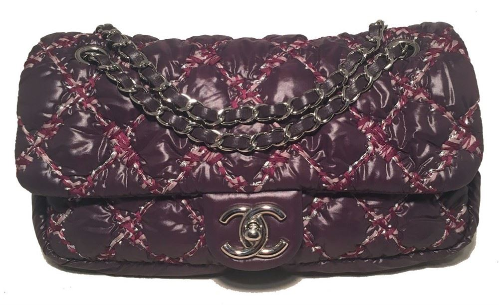 fa40883b2654 Image 1 : Chanel Plum Purple Quilted Puffy Nylon Classic Flap Shoulder Bag  ...