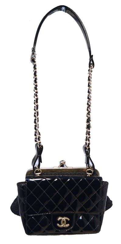 3832e3663a1db1 ... Image 2 : Chanel Black Patent Leather Classic and Lace Pouch Shoulder  Bag ...