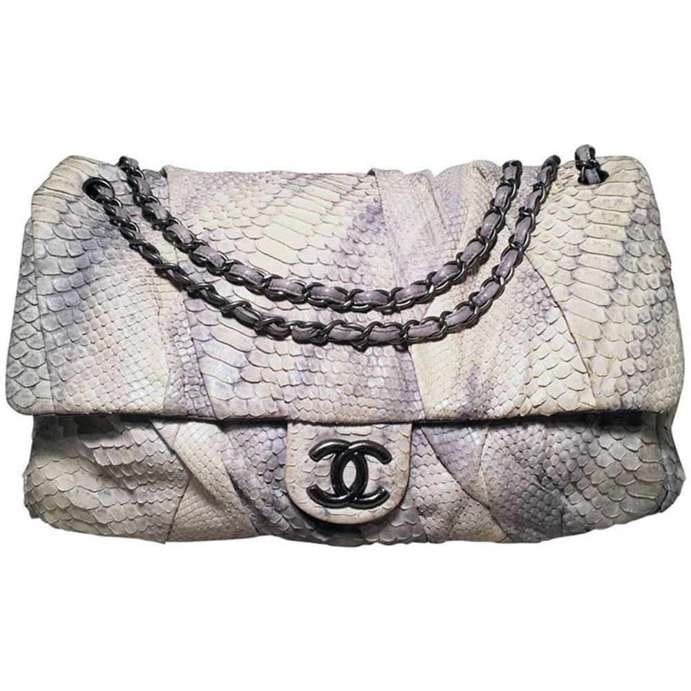 9945454dec73 Image 1 : Chanel Rare Natural Snakeskin Python XL Classic Flap Shoulder Bag  ...