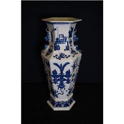 A hexagonal vase(Guan Yin Ping) with two ears.