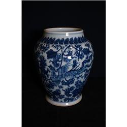 "A blue-and-white ""phoenix cross peony"" Jar"