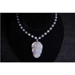 "A deep sea agate""Leaf""pendant + beads Chain."