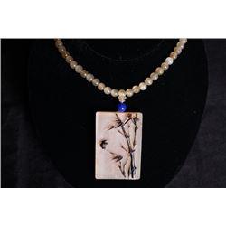 "An Antelope Horn ""Bamboo"" pendant + beads chain."