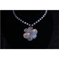 "A deep sea agate""Flora""pendant + beads Chain."
