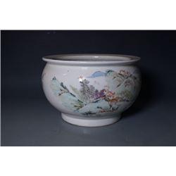 """Qing Dynasty, a big Qian Jiang Cai """"Landscape"""" water pot, """"Yu Huanwen"""" mark."""