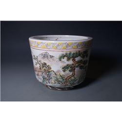 "A small Qian Jiang Cai ""Landscape"", ""Wang Qi"" mark jar."