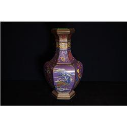 An Enamel gilt-decrated hexagonal bottle.