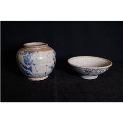 A small jar; A small bowl.