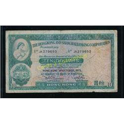 Rare 1973 Hong Kong 10 Dollars Banknote