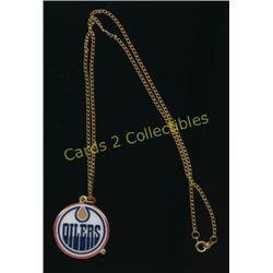 Edmonton Oilers Enamel Pendant & Chain