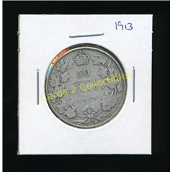 1913 Canadian King George Silver 1/2 Dollar Coin