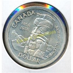 1958 Canadian Silver Totem Pole $1 Coin