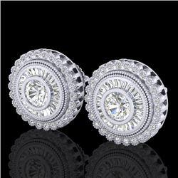 2.61 CTW VS/SI Diamond Solitaire Art Deco Stud Earrings 18K White Gold - REF-381K8W - 37082