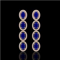 6.47 CTW Sapphire & Diamond Halo Earrings 10K Rose Gold - REF-109H5A - 40509
