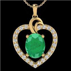4 CTW Emerald & VS/SI Diamond Designer Inspired Heart Necklace 14K Yellow Gold - REF-81A8X - 20493