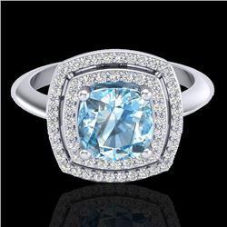 2.02 CTW Sky Blue Topaz & Micro VS/SI Diamond Halo Ring 18K White Gold - REF-63X6T - 20754