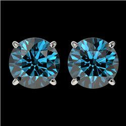 2.50 CTW Certified Intense Blue SI Diamond Solitaire Stud Earrings 10K White Gold - REF-279Y2K - 331