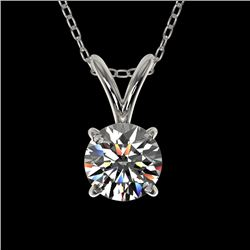 0.55 CTW Certified H-SI/I Quality Diamond Solitaire Necklace 10K White Gold - REF-51K2W - 36723