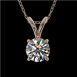 0.51 CTW Certified H-SI/I Quality Diamond Solitaire Necklace 10K Rose Gold - REF-51N2Y - 36718