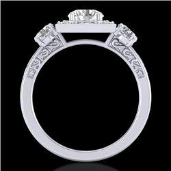 1.55 CTW VS/SI Diamond Solitaire Art Deco 3 Stone Ring 18K White Gold - REF-272K8W - 37274