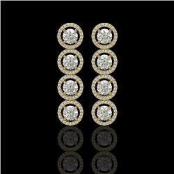 5.36 CTW Diamond Designer Earrings 18K Yellow Gold - REF-842M2H - 42586